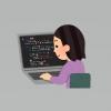 プログラミングする女性のイラスト