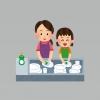 洗い物をする親子