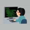 黙々とプログラミングしている男性