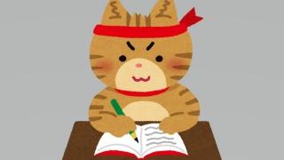 勉強を頑張るネコ